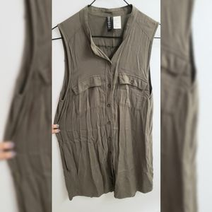 H&M Army Green Button Down Dress